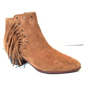 "Sam Edelman ""Rudie"" Brown Fringed Zip Booties NWOT"